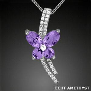 925-ECHT-SILBER-RHODINIERT-Amethyst-Schmetterling-Blume-Anhaenger-Kette
