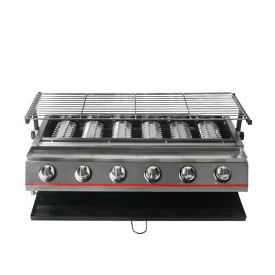 6 Burners Stainless Steel BBQ Grill LPG Gas Height Adjustable Tabletop Camping