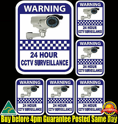 Security camera surveillance warning CCTV Stickers, home office 6 pack 7 Year