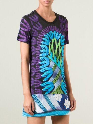 G BNWT Adidas Originals X Mary Katrantzou Fitted Digital Logo Top T-Shirt UK 14