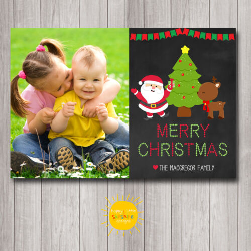 Personalised Christmas Photo Cards Digital or Printed Chalkboard Santa Fun