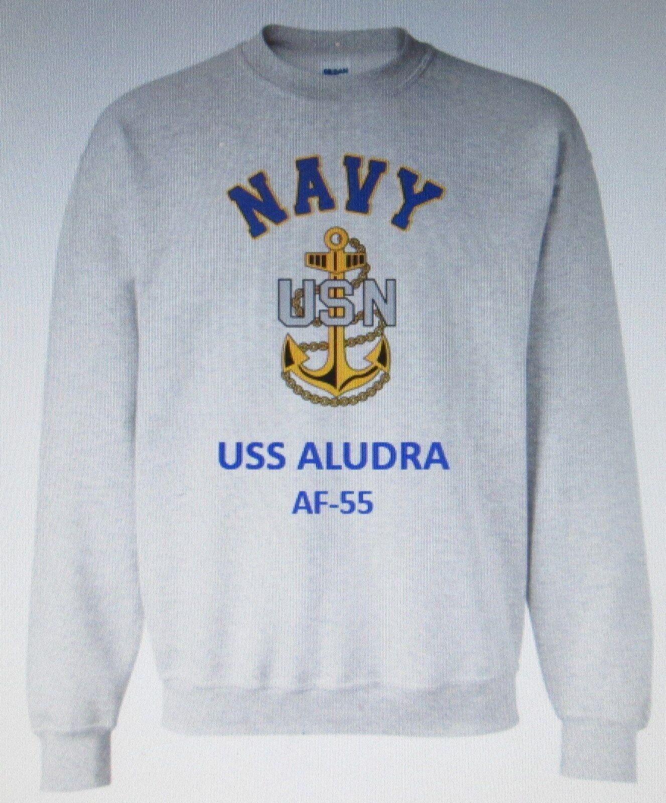 USS ALUDRA  AF-55  STORES SHIP  NAVY ANCHOR EMBLEM SWEATSHIRT