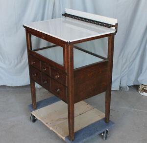 Antique Oak Doctor's or Dental Instrument Storage and ...