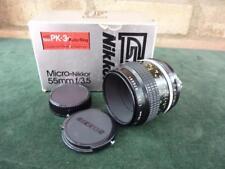 nice Nikkor Micro 1:3.5 55mm lens Nikon F Mount VGC in Box