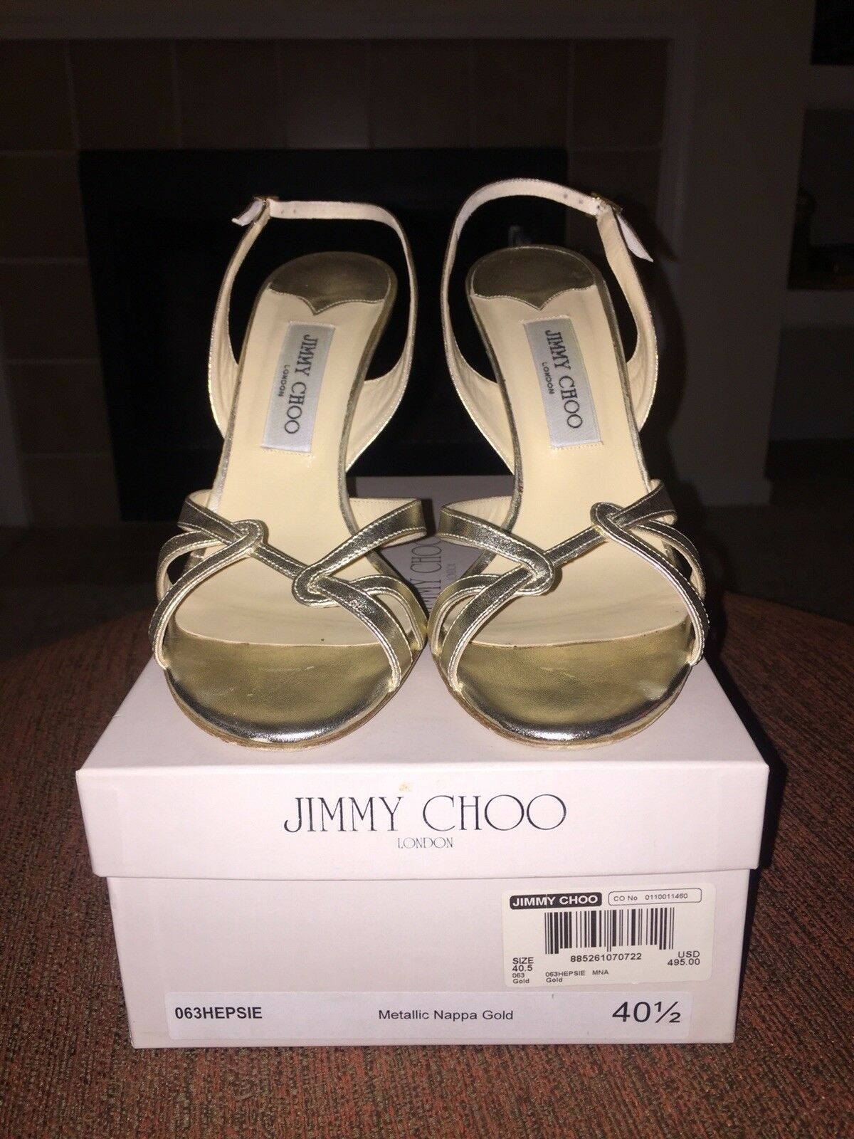 Jimmy Choo 40.5 Hepsie, slingback sandal - gold