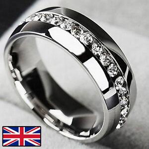 Plata-brillante-cristal-anillo-de-la-eternidad-CZ-circon-Bling-Clasico-De-Acero-Inoxidable
