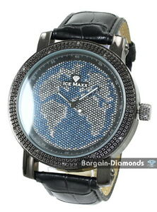 Details about Diamond mens big black world map watch blue oceans bling ice  out leather maxx