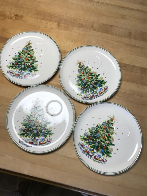 Set Of 4 Merry Brite Christmas Dessert Plates 7 1 2 For Sale Online