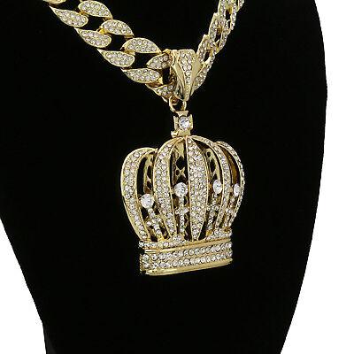 "Hip Hop 14k Gold Plated Jesus Big Cross Pendant 15mm 18/"" Fully CZ Cuban Chain"