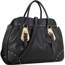 New Fashion Dasein Studded Women Leather Satchel Shoulder Bag Handbag Purse