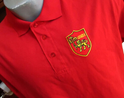 LARGE True Vtg 90s CATHOLIC SCHOOL PATCH KNIT POLO COLLAR SS SHIRT USA RED