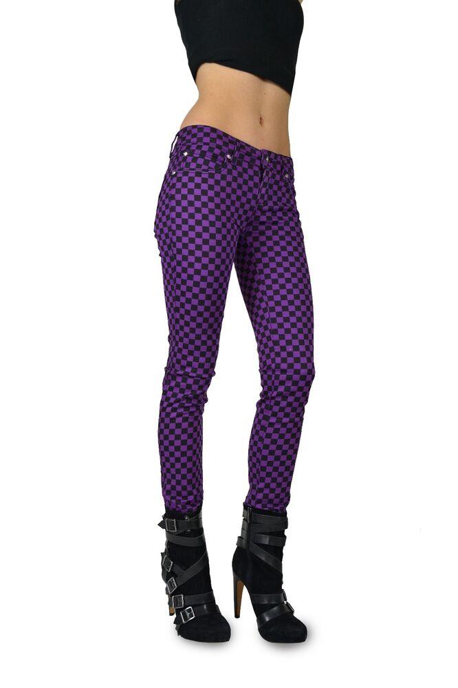 Adroit Tripp Violet Motif Imprimé Punk Rockstar Gothique Pantalon Jean Étroit Motard Et Aide à La Digestion