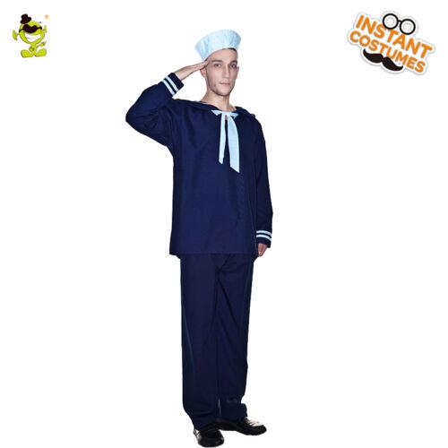 Man High Sea Sailor Costume Role Play Party  Blue Luxury Uniform Sailor Costumes