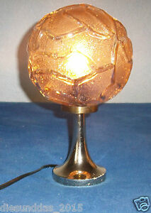 ARO-Messing-Tischlampe-mit-Brauner-Glaskuppel-Original-60er-70er-Jahre
