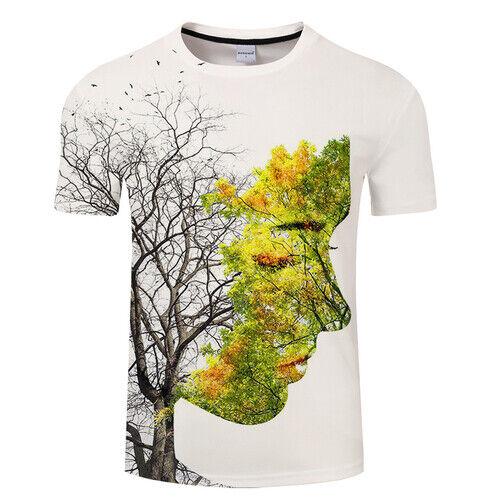 Beauty Tree leaf Face Scenery  Women Men T-Shirt 3D Print Short Sleeve Tee Tops