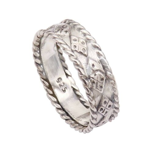 Band Ring Solid 925 Sterling Silver Meditation Handmade Ring All Sizes GESR49