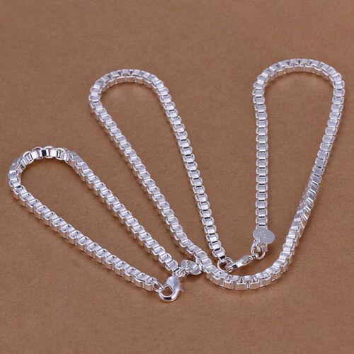 12 types 925 STERLING SILVER ARGENT Massif Unisexe Chaînes Collier Bracelet Set