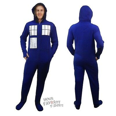 Doctor Who Tradis Costume Licensed Adult One Piece Hooded Footie Pajama S-XXL