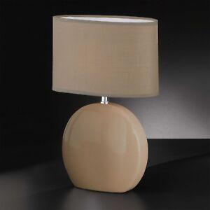 Honsel Tischleuchte Greta 1-flg Nickel Schalter Stoffschirm E14 Lampe Grau Weiß