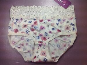 Women Panties,Bikinis ILUSION Size L Beige/&Pink Shiny Floral W//net /& decoration