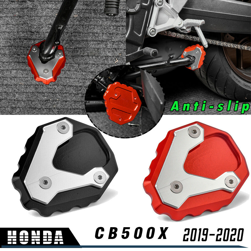 Easygo Motorcycle Kickstand Foot Side Stand Extension Pad Support Plate for Honda CB500X CB 500X 2019 2020 Black