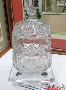 EAPG-IMPERIAL-GLASS-THREE-IN-ONE-AKA-FANCY-DIAMONDS-CLEAR-8-3-4-034-BISCUIT-BARREL