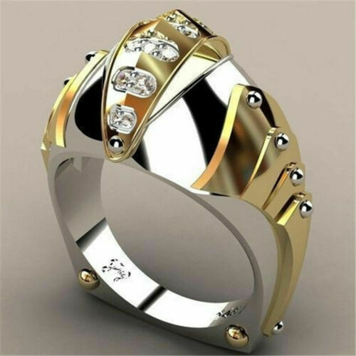 Men Woman White Topaz 18K Gold Filled Wedding Party Proposal Ring Jewelry #6-10