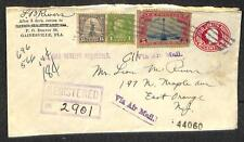 STATIONERY ENTIRE UPRATED 4TH BUREAU & BEACON AIRMAIL STAMP REGISTERED COVER
