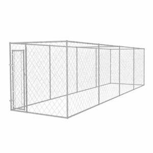 Vidaxl Chenil Extérieur Pour Chiens 8x2 M Acier Galvanisé Cage Enclos Jardin