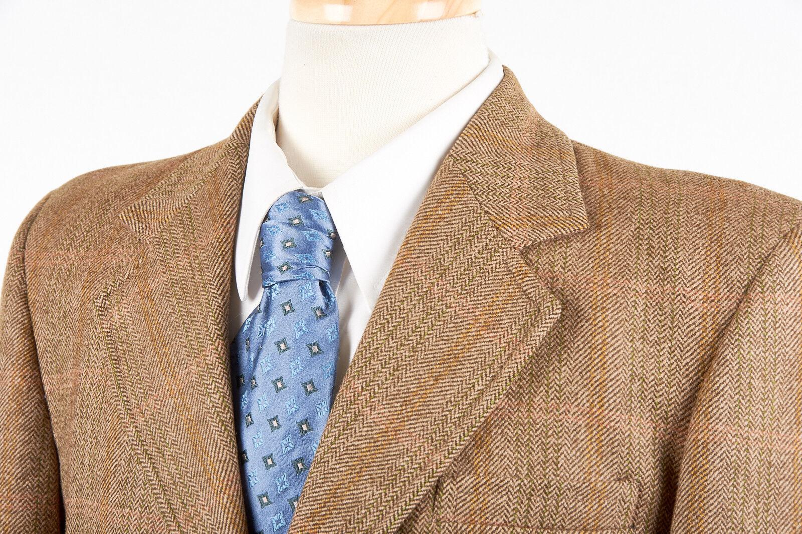 Vintage Mens BURTON Sport Coat 40 R, Honey Brown Herringbone Wool Tweed ENGLAND