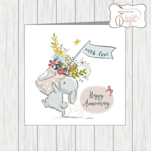 Wedding Anniversary Card Wife Husband Cute Rabbit Carrying Basket Of Flowers