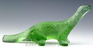 Lalique-France-Crystal-Figurine-Paperweight-GREEN-LIZARD-SALAMANDER-DRAGON-Mint