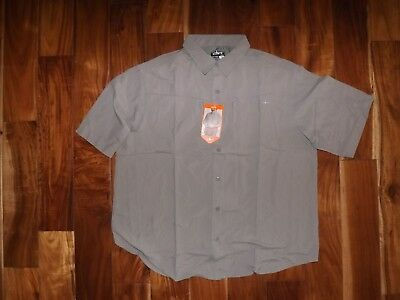 HABIT MENS LARGE SHORT SLEEVE BUTTON DOWN BRUSHED NICKEL GRAY OUTDOORS SHIRT TOP