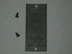 Antique-Old-Briggs-amp-Stratton-Serial-Tag-Wards-WMG-3050