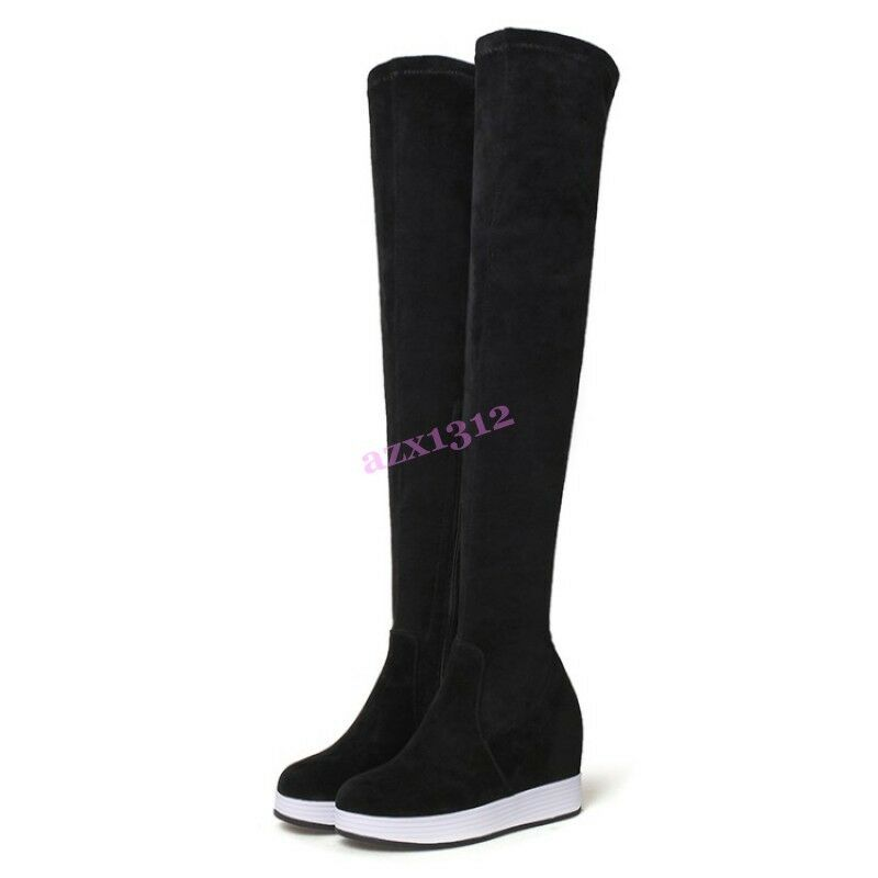 2017 Retro British Style Over Knee Boots Zip Flats Wedge Wedge Wedge Heels Suede Casual 118a02
