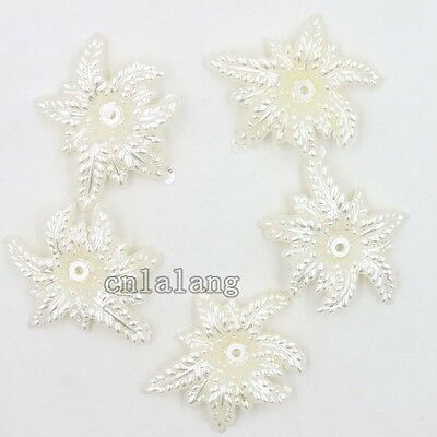 150x Wholesale White Multi-layer Leaves Charms ABC Pendants Jewelry Findings C