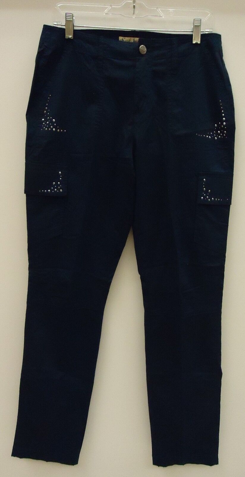Earl Jean Cargo Pants Cotton Female Adult 10 Navy bluee Solid w  Studs BFEJ1
