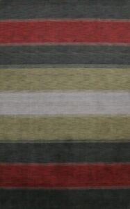 Contemporary-Striped-Gabbeh-Oriental-Area-Rug-WOOL-Hand-Knotted-Living-Room-7x10