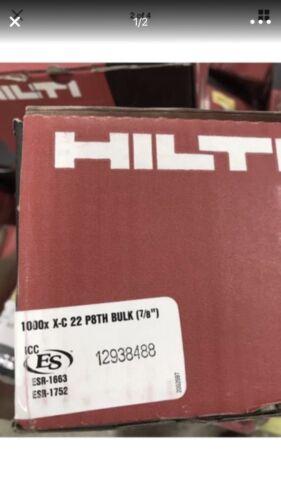 "NEW Case of 1000 Hilti Std fasteners X-C 22 P8TH BULK 7//8/"" 2091375 FREE SHIP"