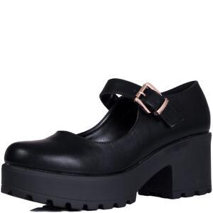 Womens-Adjustable-Buckle-Block-Heel-Shoes-Sz-3-8
