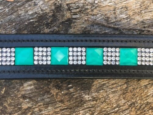 Turquoise Crystal Belt Horse Riding Leather Belt Black Leather Belt