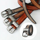 Men Fashion Leather Belt Waist Strap Metal Pin Buckle Letters Waistband Casual