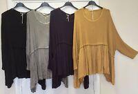 New Plus Ladies Oversized Italian Lagenlook Boho Knitted Floaty Style Tunic Top