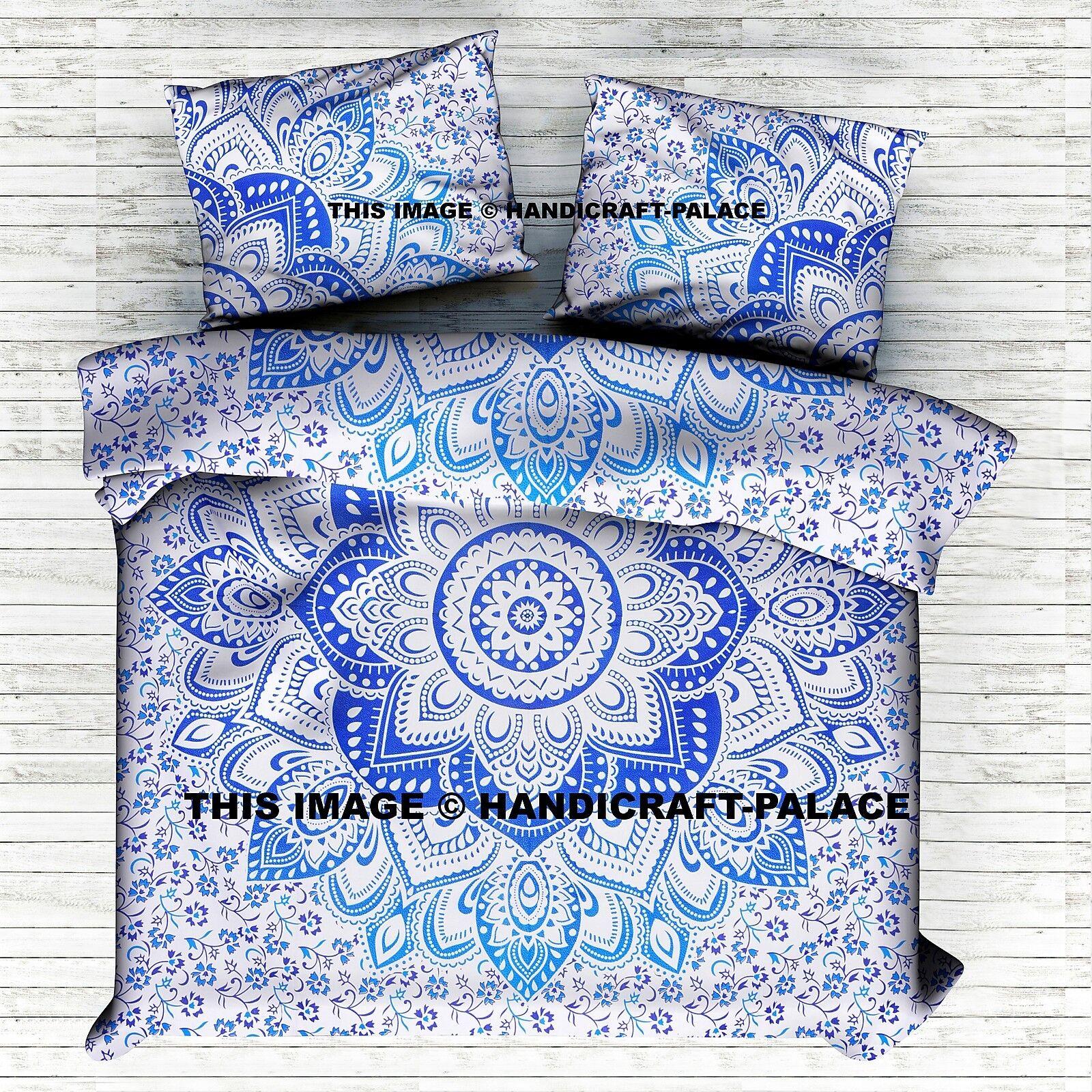 Indian Ombre Mandala King Queen Duvet Quilt Cover Bedding Blau Blanket Set Decor