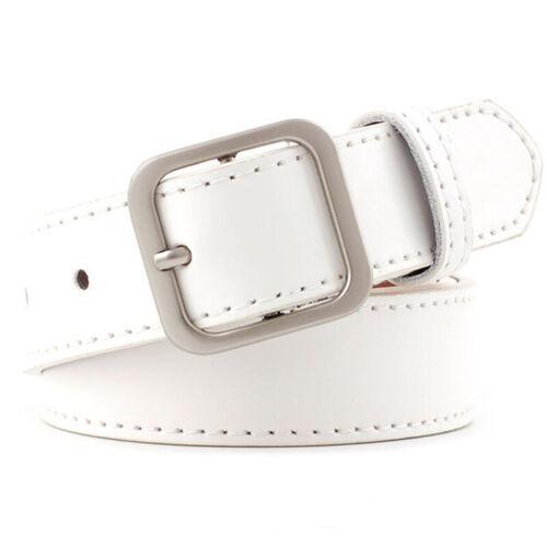 Womens Ladies Faux Leather Metal Waistband Belt Waist Dress Jeans Strap Buckle