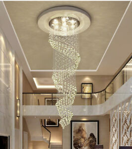 Details About Modern Chandelier Led Crystal Light Ceiling Villa Stairs Lighting Fixtures