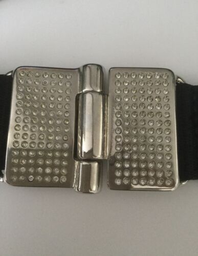 Cintura in bianco Orciani Claudio nera di cristallo Nwot tessuto v0ON8Pmnwy