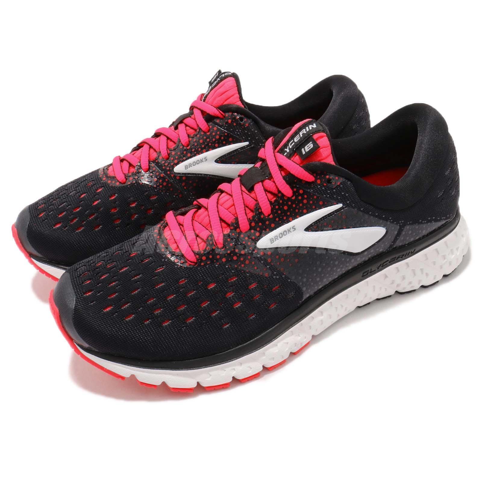 Brooks Glycerin 16 D WIDE Noir Rose Blanc Femme Running Chaussures Sneaker 120278 1D