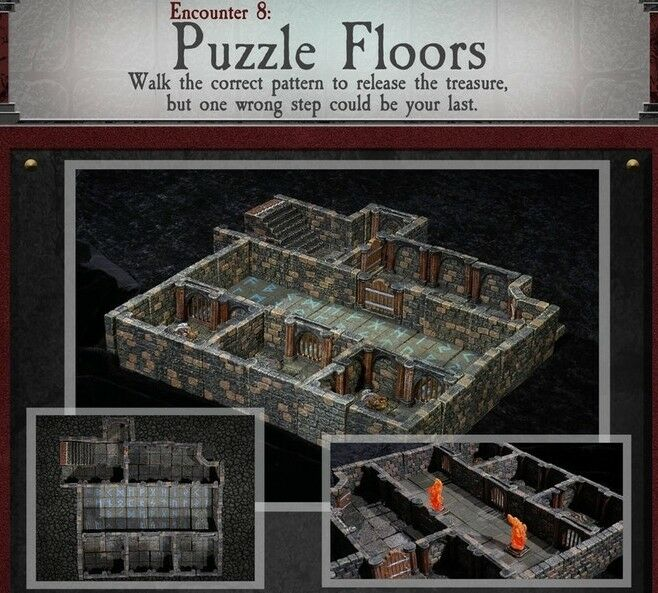 Dvärven Forge pussel FLOORS Dungeons of Doom 2018 w  Målade -Magnets - D &D brickor
