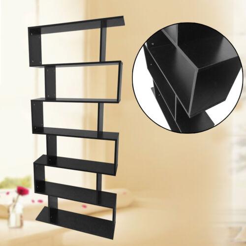 Display Shelf Storage Bookshelf 6 Level Tier Ladder Wall Bookcase Stand  Rack US Black